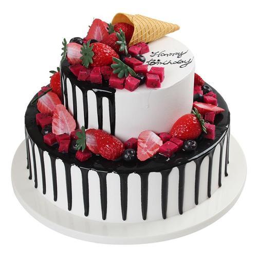 皇冠拍照摆放过寿二层网红创意双层蛋糕模型多层生日
