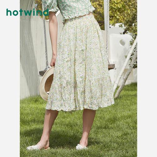 热风女装2021年夏季新款女士仙女风印花短裙百搭半身裙f14w1214