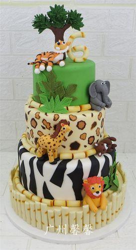 广州馨馨2019仿真多层新款翻糖生日蛋糕模型动物卡通翻糖蛋糕模型