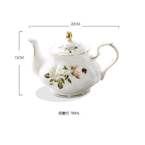 白玫瑰描金英式茶具骨瓷咖啡杯欧式下午茶杯子红茶杯花茶杯带碟 骨瓷