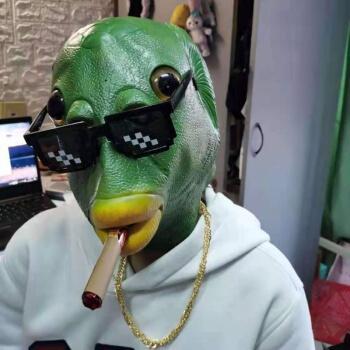 hkxa网红鱼头套绿色鱼头套绿鱼人头套搞笑鱼头怪头套绿头鱼头套 头套