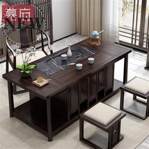 新中式茶台1实木新中式禅意功夫茶桌椅茶凳黑檀木茶室