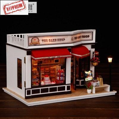 diy小屋别墅手工制作蛋糕店房子模型拼装艺术屋玩具创意生日礼物