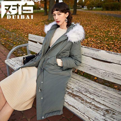 对白中长款派克服女白鸭绒仿貉子毛领羽绒服冬季新款
