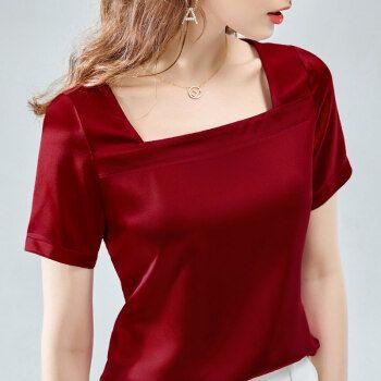 sovk轻奢品牌女装设计感洋气雪纺衫女短袖2021春夏款甜美法式遮肚子露