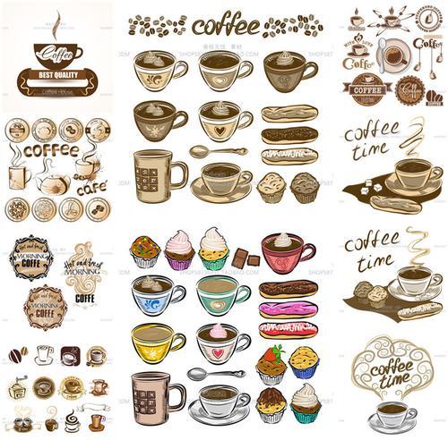 a3524矢量手绘咖啡纸杯蛋糕logo菜单插画花纹下午茶