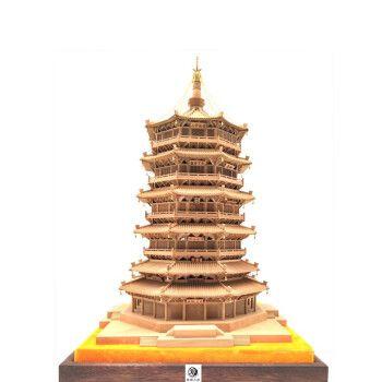中国古建应县木塔释迦塔木雕榫卯结构成品客厅办公室摆件工艺礼品模型