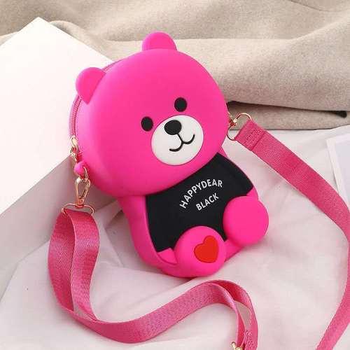 diy小女包包新款2021款百搭硅胶小熊包休闲手机包单肩斜挎包 玫红欢乐