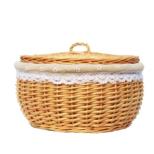 藤编筐收纳面包篮圆馍框盛馒头筐收纳篮家用餐厅编织