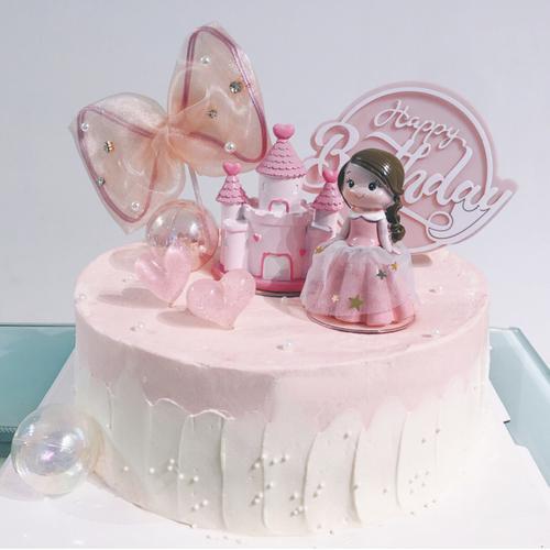 粉色系蛋糕装饰纱裙公主城堡玩偶摆件蝴蝶结可爱女孩生日插牌插件