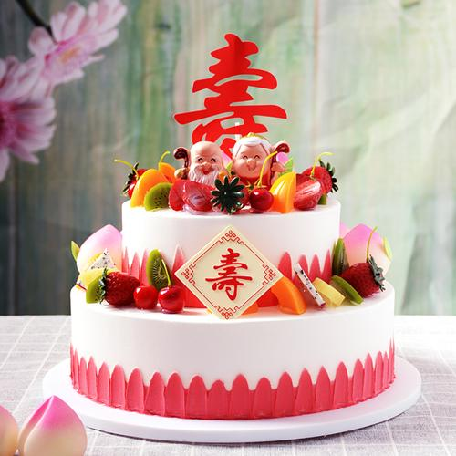 双层祝寿仿真蛋糕模型新款贺寿桃蟠桃蛋糕橱柜样品生日假蛋糕
