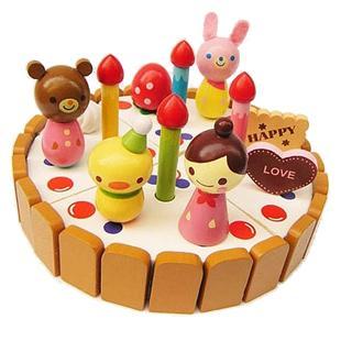 特价精品草莓系列mother garden卡通雪人小蛋糕 拆装木制玩具3岁