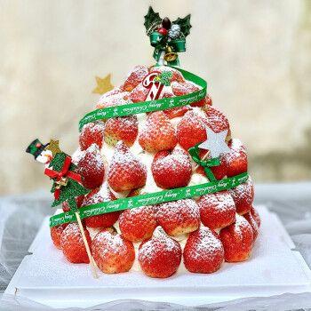 食锦谣生日蛋糕网红定制圣诞节平安夜创意草莓手绘水果全国同城配送