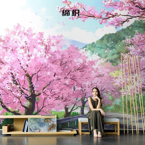 缔织日式手绘樱花壁画唯美艺术油画墙纸客厅电视