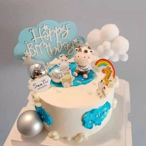 小牛蛋糕装饰摆件牛年生肖牛牛宝宝公仔卡通蛋糕装扮网红插件插牌