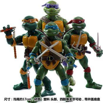 动漫模型玩具 忍者神龟公仔玩偶关节可动 经典复古版电影版可爱摆件