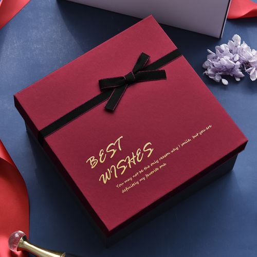 红色礼盒包装盒正方形小号礼品盒空盒子送男友女生生日礼品礼物盒