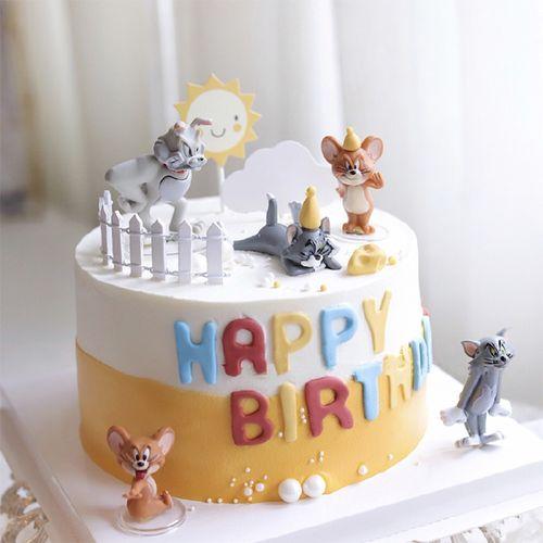 猫和老鼠儿童生日蛋糕装饰摆件插件汤姆杰瑞玩偶公仔