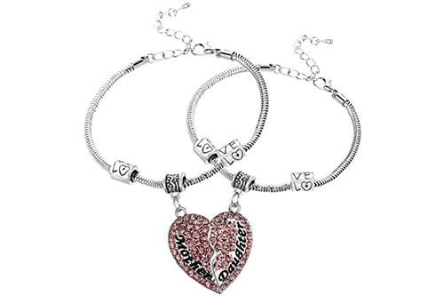 luvalti 心形吊坠手链套装适合母女儿 - 家庭珠宝礼物