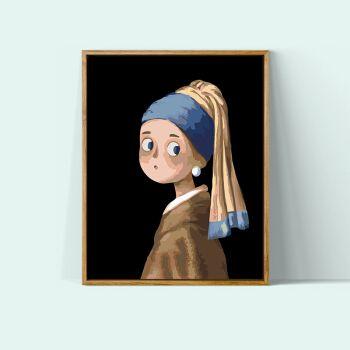 涂色画卡通动漫手工名画q版蒙娜丽莎戴珍珠耳环的少女填充画 卡通名画
