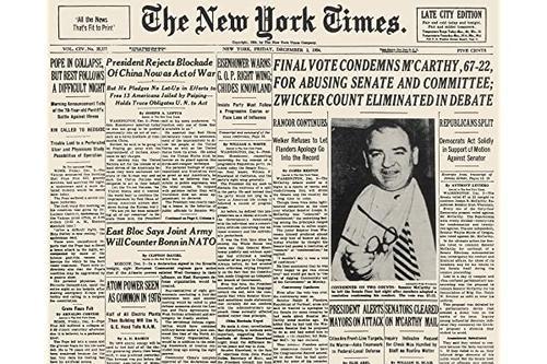 mccarthy censure 1954 年 12 月 3 日《纽约时报》美国参议院同事