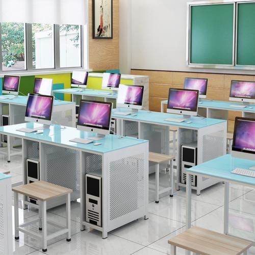 学校多媒体教室机房电脑台式桌子单双人计算机培训班