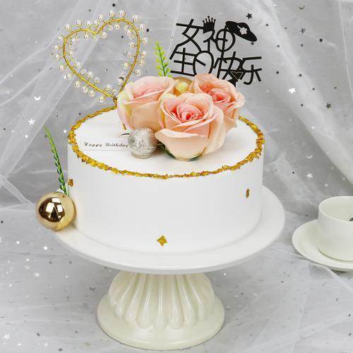 网红女神生日蛋糕模型仿真2021新款流行鲜花公主蛋糕