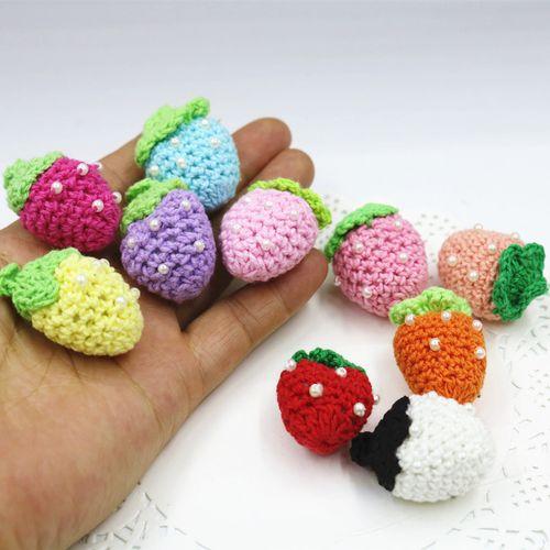 纯手工 棉线手工钩花勾花  多色可爱立体珍珠草莓果果