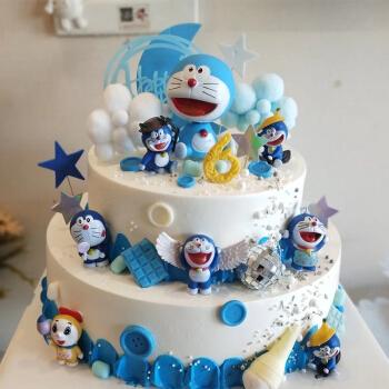 儿童双层生日蛋糕卡通公仔哆啦a梦小王子皇冠羽毛美人鱼旋转木马米