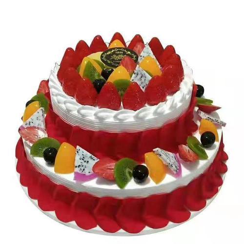 2021新款仿真蛋糕模型欧式双层水果生日蛋糕模型假