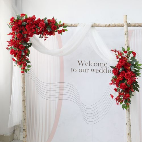 中式红玫瑰壁挂花排婚庆绢花摆件装饰花束活动