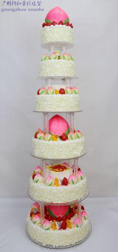 多层祝寿蛋糕模型 六层新款仿真大寿桃生日蛋糕 八层