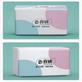 真诚抽纸竹浆本色纤维纸巾家用整箱装卫生纸 4包