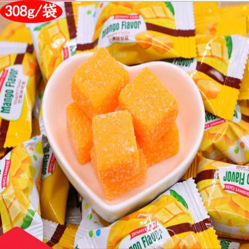 爆浆芒果糖软糖小方块芒果味水果成长快乐儿童维生素c偷吃你的糖