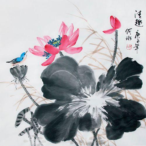 原创植物花卉新款花鸟画荷花国画真迹字画芯文人画家