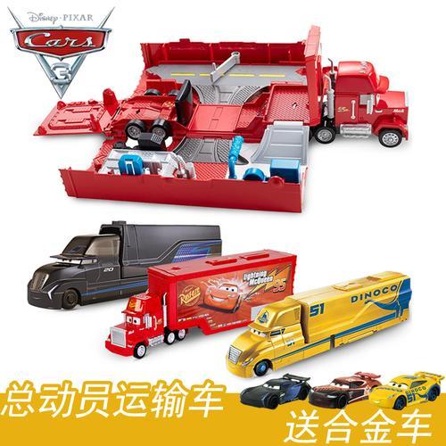 美泰赛车总动员3造型大型运输车变形卡车赛车轨道frj