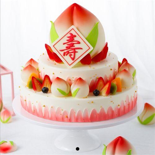 祝寿生日蛋糕模型网红双层寿桃仿真2021新款水果蛋糕
