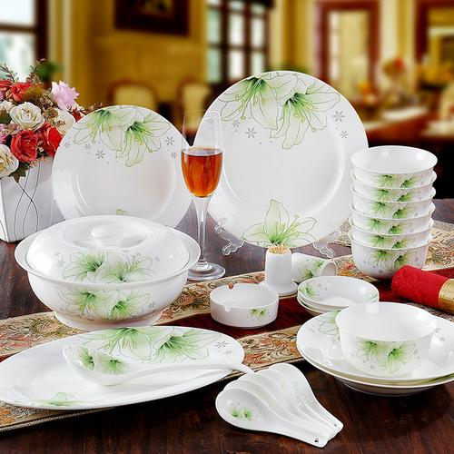 骨瓷餐具 景德镇56头优级骨瓷器碗盘套装碗盘碟 叶之绿相约 礼品