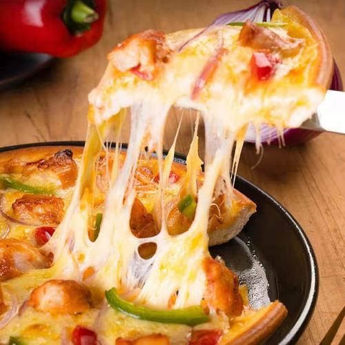 成品披萨加热即食芝士碎拉丝水果牛肉鸡肉大虾培根