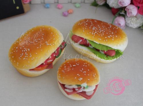 仿真食物汉堡包慢回弹pu面包食品模型道具橱柜装饰
