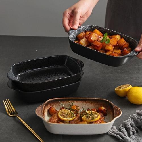 陶瓷饭焗饭盘烤箱西餐盘双耳盘子微波炉烘焙烤盘家用芝士焗饭碗