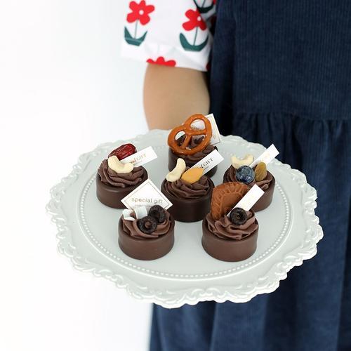 仿真巧克力挞 点心坚果小甜品 美食摄影道具 假体摆台婚庆蛋糕