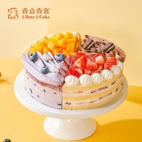 壹点壹客网红水果蛋糕生日创意芒果四口味慕斯蛋糕