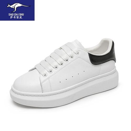 萨奇袋鼠轻奢高档女鞋 2021新款高品质牛皮小白鞋女韩版松糕厚底增高