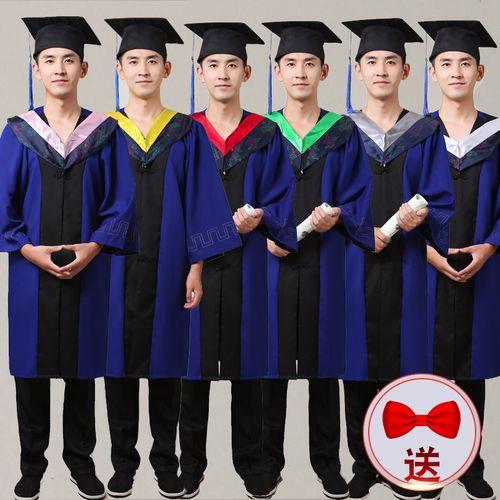 硕士服学位服 男女毕业礼服 文科垂布学士帽 硕士服毕业服演出服