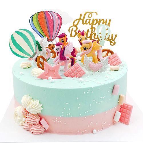 小马宝莉蛋糕装饰摆件彩虹甜品角兽生日摇摇马小