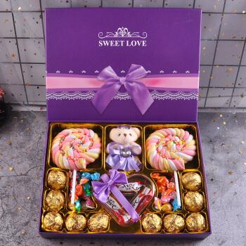 德芙巧克力礼盒装送女友生日六一儿童节礼物创意浪漫零食糖果 紫色