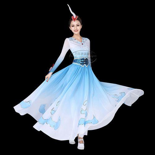 舞蹈世界白羽清歌蒙古舞表演服装天鹅演出服群舞飘逸