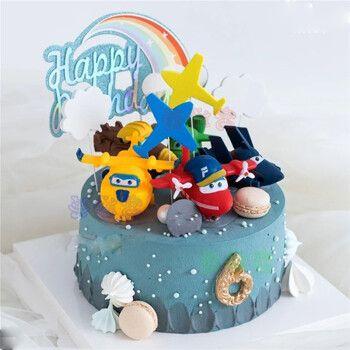 网红超级飞侠生日蛋糕同城配送飞机乐迪送儿童卡通男孩女孩周岁全国