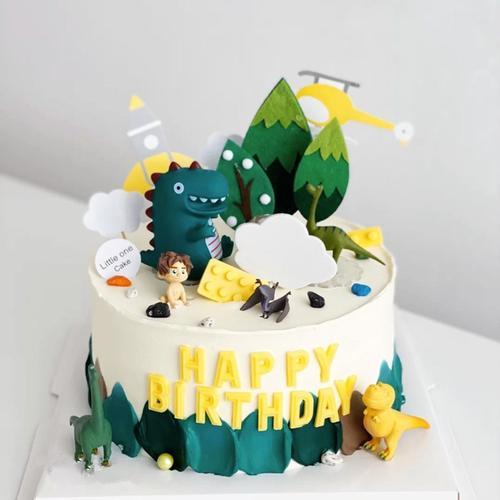 儿童蛋糕装饰恐龙摆件森林恐龙动物主题绿树男孩周岁